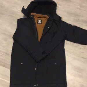Boys black winter hooded coat sz 14-16